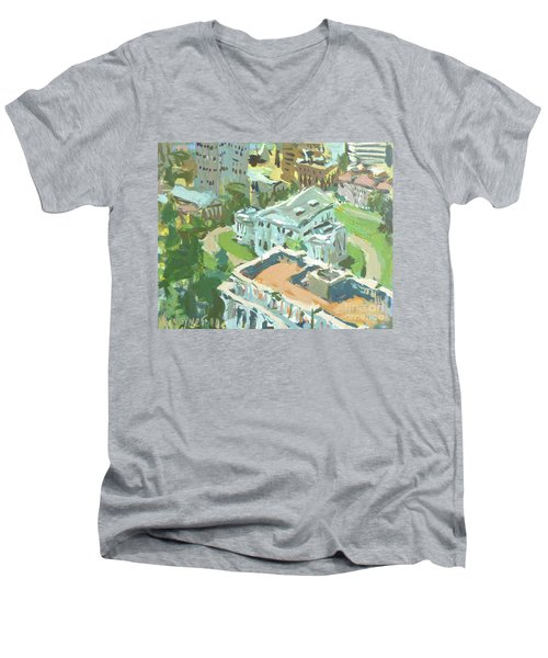 Contemporary Richmond Virginia Cityscape Painting Featuring Virginia State Capitol Building Men's V-Neck T-Shirt by Robert Joyner