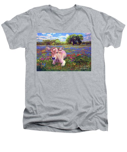 Contented Cow In Colorful Meadow Men's V-Neck T-Shirt