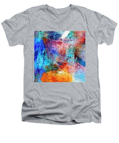 Men's V-Neck T-Shirt featuring the painting Convergence by Dominic Piperata