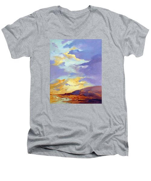 Men's V-Neck T-Shirt featuring the painting Convergence by Rae Andrews