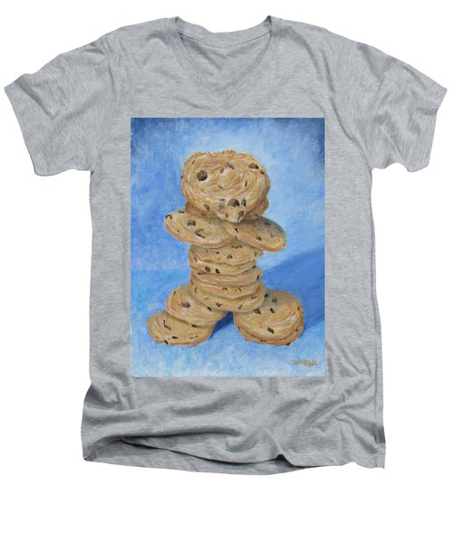 Men's V-Neck T-Shirt featuring the painting Cookie Monster by Nancy Nale