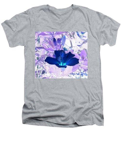 Cool Blue Hawaiian Hibiscus Men's V-Neck T-Shirt