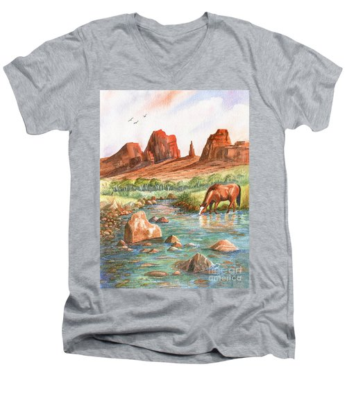 Men's V-Neck T-Shirt featuring the painting Cool, Cool Water by Marilyn Smith