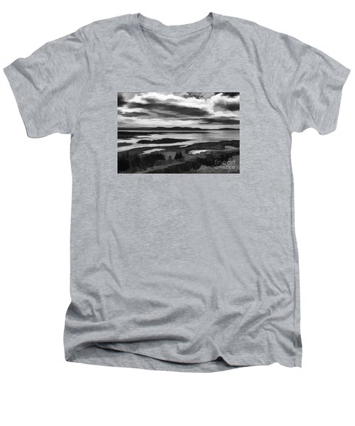 Men's V-Neck T-Shirt featuring the photograph Cool Lakes Iceland by Rick Bragan