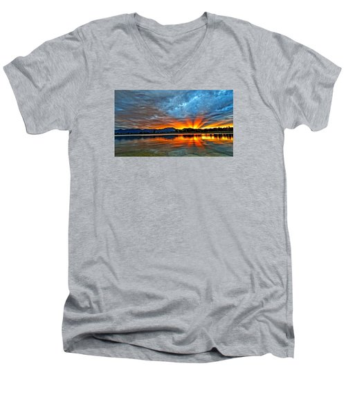 Men's V-Neck T-Shirt featuring the photograph Cool Nightfall by Eric Dee