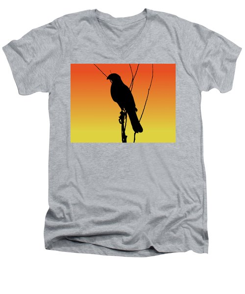 Coopers Hawk Silhouette At Sunset Men's V-Neck T-Shirt