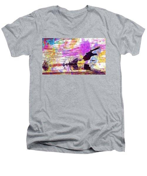 Men's V-Neck T-Shirt featuring the digital art Coot Bird Water Bird  by PixBreak Art