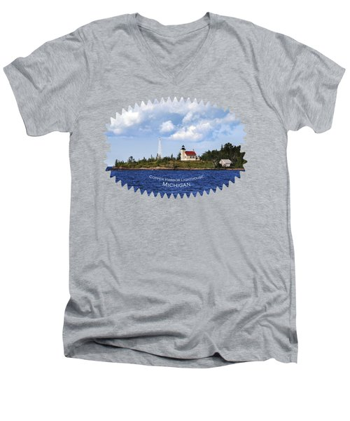 Copper Harbor Lighthouse Men's V-Neck T-Shirt by Christina Rollo