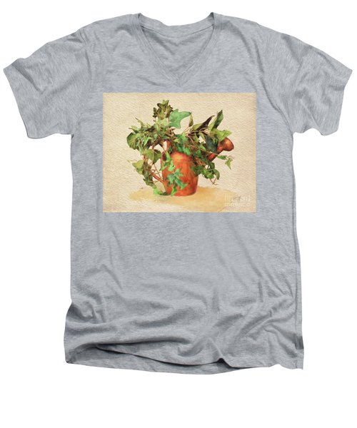 Men's V-Neck T-Shirt featuring the digital art Copper Watering Can by Lois Bryan