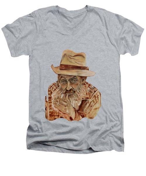 Coppershine Popcorn Bust - T-shirt Transparency Men's V-Neck T-Shirt by Jan Dappen