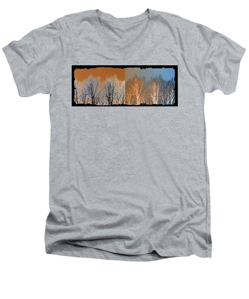 Men's V-Neck T-Shirt featuring the digital art Coppertone Fusion by Will Borden