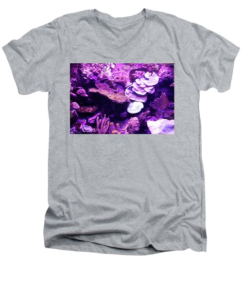 Men's V-Neck T-Shirt featuring the digital art Coral Art 5 by Francesca Mackenney