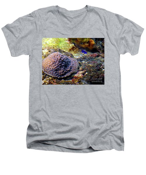 Men's V-Neck T-Shirt featuring the digital art Coral Art Cu 3 by Francesca Mackenney