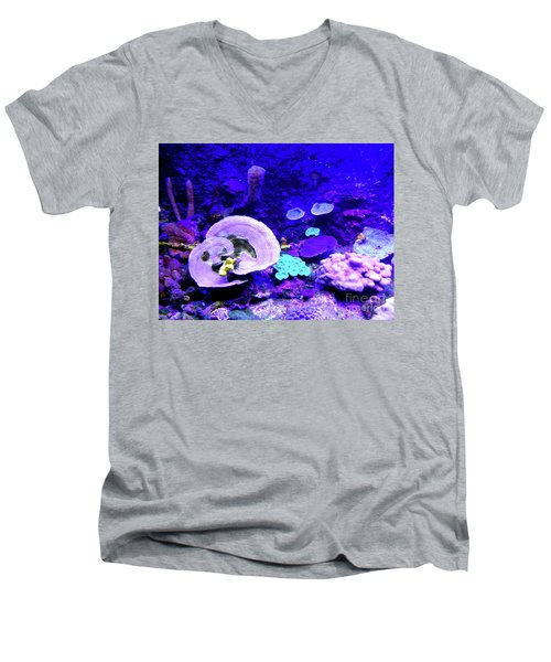 Men's V-Neck T-Shirt featuring the digital art Coral Art by Francesca Mackenney