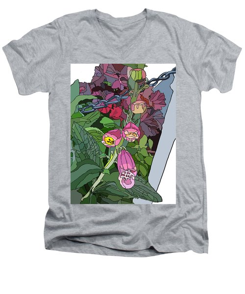 Coral Bells In The Garden Men's V-Neck T-Shirt