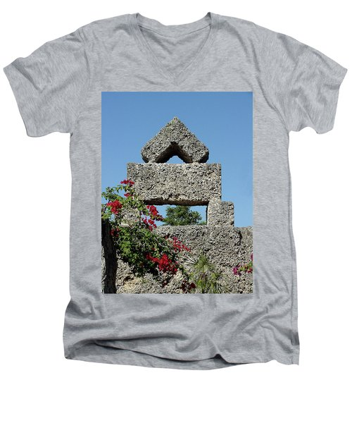 Coral Castle For Love Men's V-Neck T-Shirt by Shirley Heyn