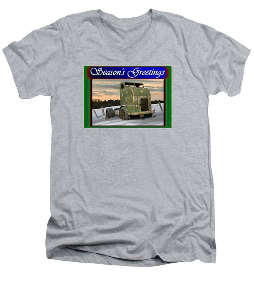 Men's V-Neck T-Shirt featuring the digital art Corbitt Christmas Card by Stuart Swartz