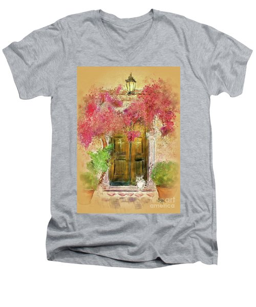 Men's V-Neck T-Shirt featuring the digital art Corfu Kitty by Lois Bryan