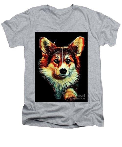 Corgi Portrait Men's V-Neck T-Shirt