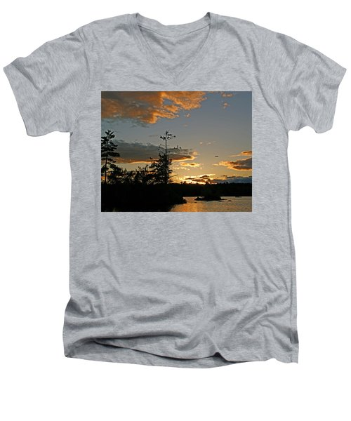 Men's V-Neck T-Shirt featuring the photograph Cormorant Tree by Lynda Lehmann