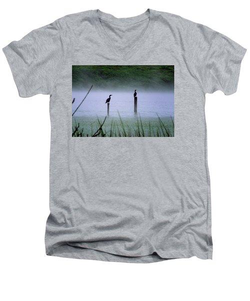 Cormorants Men's V-Neck T-Shirt by Art Shimamura