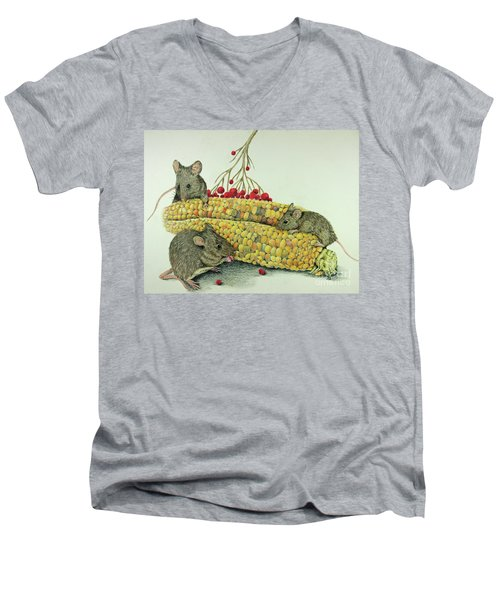 Men's V-Neck T-Shirt featuring the drawing Corn Meal by Terri Mills