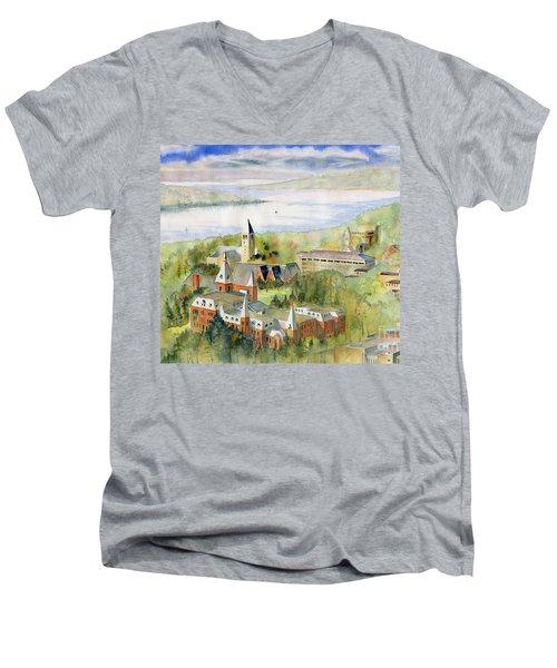 Cornell University Men's V-Neck T-Shirt by Melly Terpening