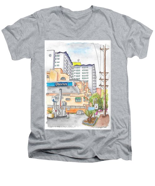 Corner La Cienega Blvd. And Hallway, Chevron Gas Station, West Hollywood, Ca Men's V-Neck T-Shirt
