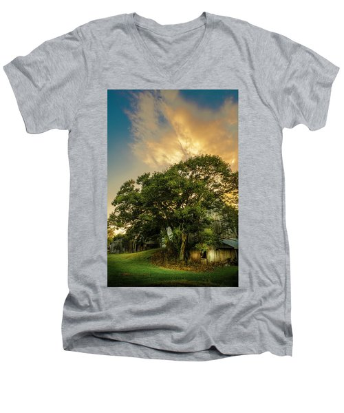 Men's V-Neck T-Shirt featuring the photograph Corner Oak by Marvin Spates