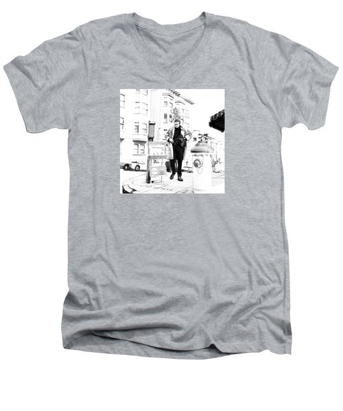 Corner Of Clay And Taylor Men's V-Neck T-Shirt by Kurt Ramschissel