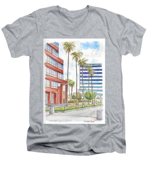 Corner Wilshire Blvd. And Curson, Miracle Mile, Los Angeles, Ca Men's V-Neck T-Shirt