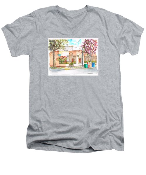 Corner With Bougainvillas In San Luis Obispo, California Men's V-Neck T-Shirt