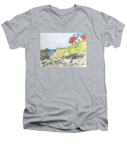 Cornfield Point Old Saybrook Men's V-Neck T-Shirt by Gertrude Palmer