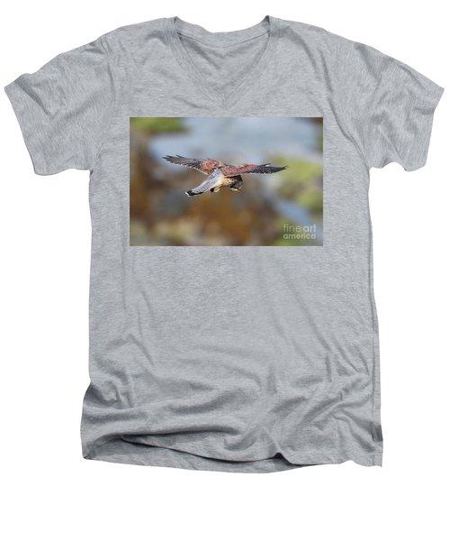 Men's V-Neck T-Shirt featuring the photograph Cornish Kestrel Hunting by Nicholas Burningham