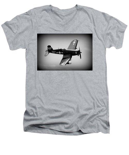 Corsair Flight Men's V-Neck T-Shirt by Kevin Fortier