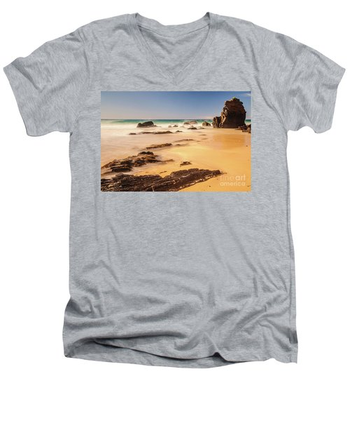 Corunna Point Beach Men's V-Neck T-Shirt by Werner Padarin