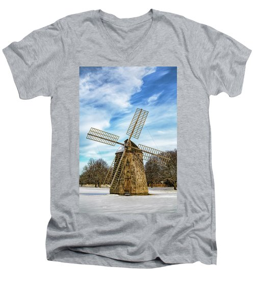 Men's V-Neck T-Shirt featuring the photograph Corwith Windmill Long Island Ny Cii by Susan Candelario