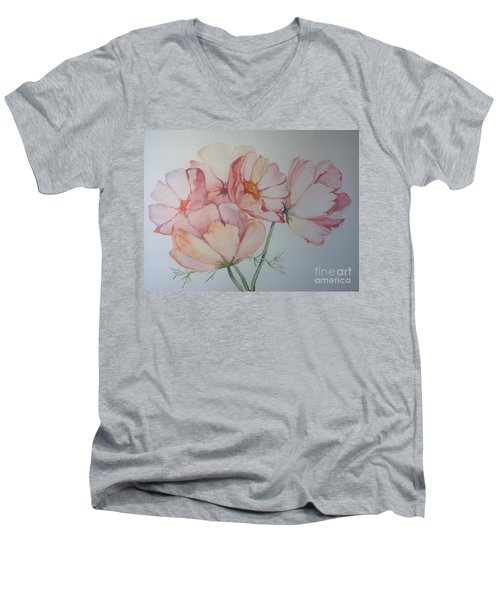 Men's V-Neck T-Shirt featuring the painting Cosmea by Iya Carson
