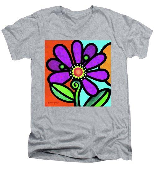 Cosmic Daisy In Purple Men's V-Neck T-Shirt