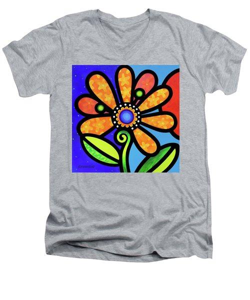 Cosmic Daisy In Yellow Men's V-Neck T-Shirt