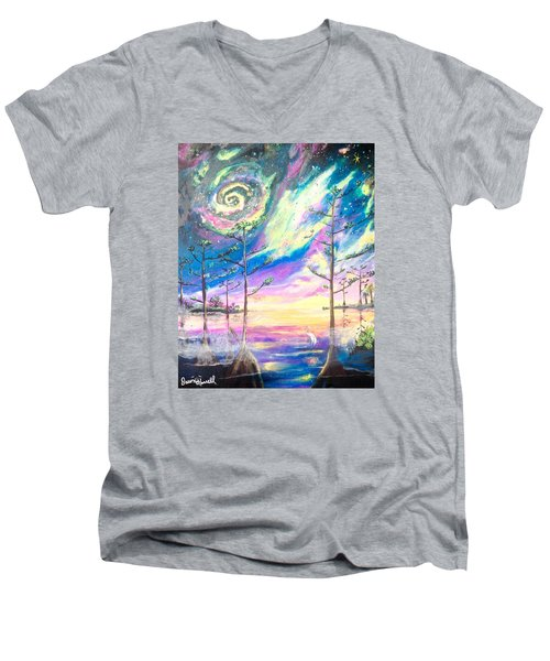 Men's V-Neck T-Shirt featuring the painting Cosmic Florida by Dawn Harrell