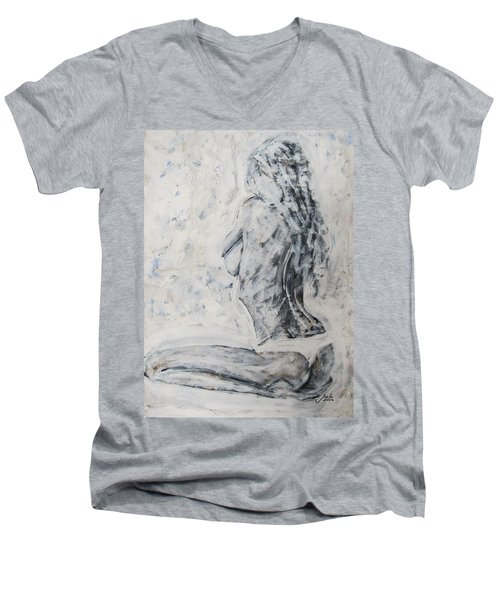Men's V-Neck T-Shirt featuring the painting Cosmic Love by Jarko Aka Lui Grande