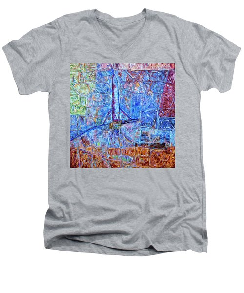 Men's V-Neck T-Shirt featuring the painting Cosmodrome by Dominic Piperata