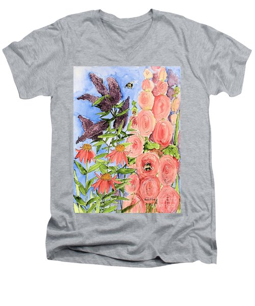 Men's V-Neck T-Shirt featuring the painting Cottage Garden Hollyhock Bees Blue Skie by Laurie Rohner
