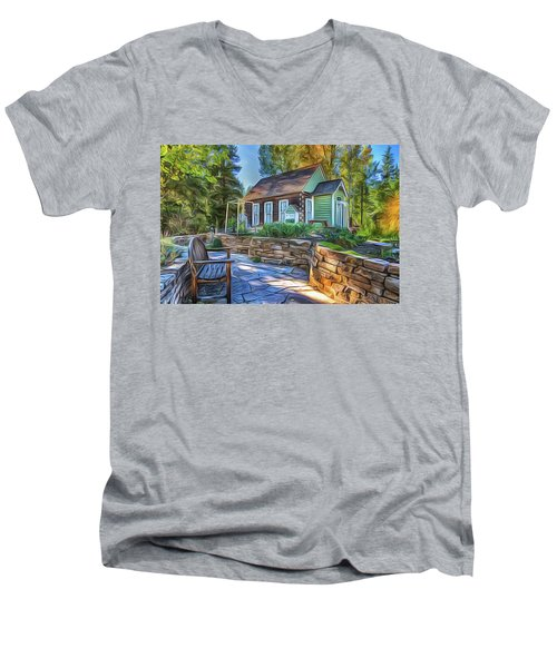 Men's V-Neck T-Shirt featuring the painting Cottage by Harry Warrick
