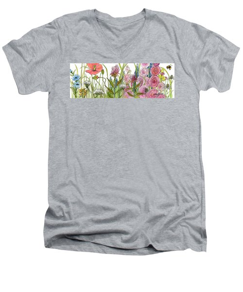 Men's V-Neck T-Shirt featuring the painting Cottage Hollyhock Garden by Laurie Rohner