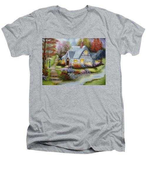 Cottage In Fall Men's V-Neck T-Shirt
