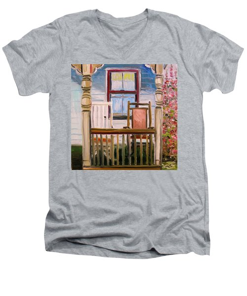 Men's V-Neck T-Shirt featuring the painting Cottage Rockers by John Williams