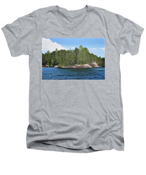 Men's V-Neck T-Shirt featuring the painting Cottage View Silver Lake by Kenneth M Kirsch