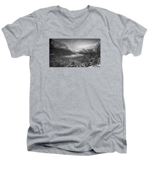 Men's V-Neck T-Shirt featuring the photograph Cotton Candy Blankets Yosemite by Lora Lee Chapman